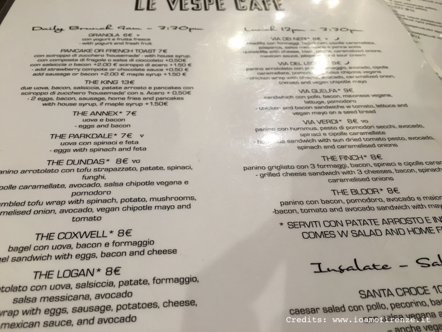 menu le vespe cafe