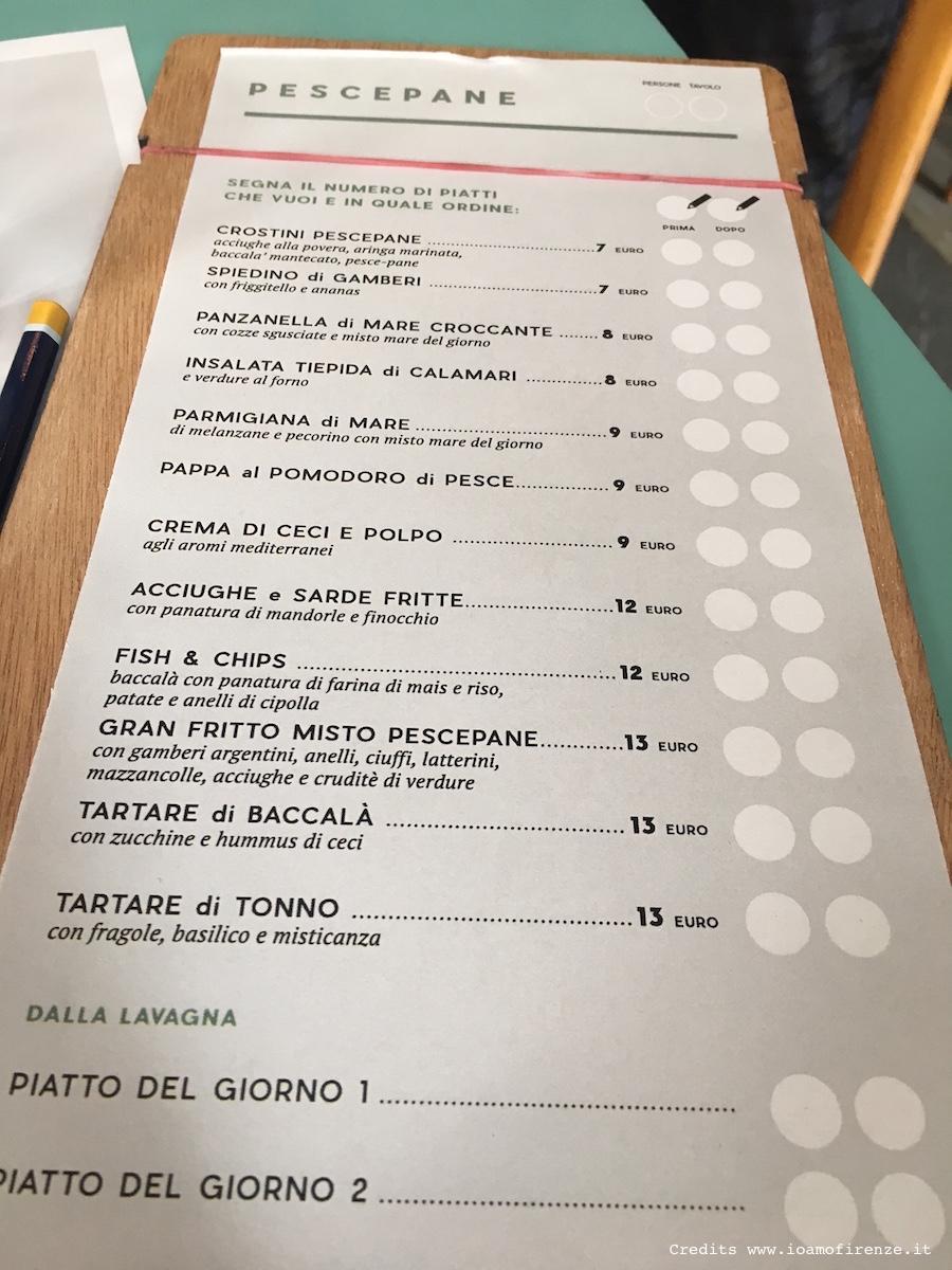 menu di pesce ristorante firenze